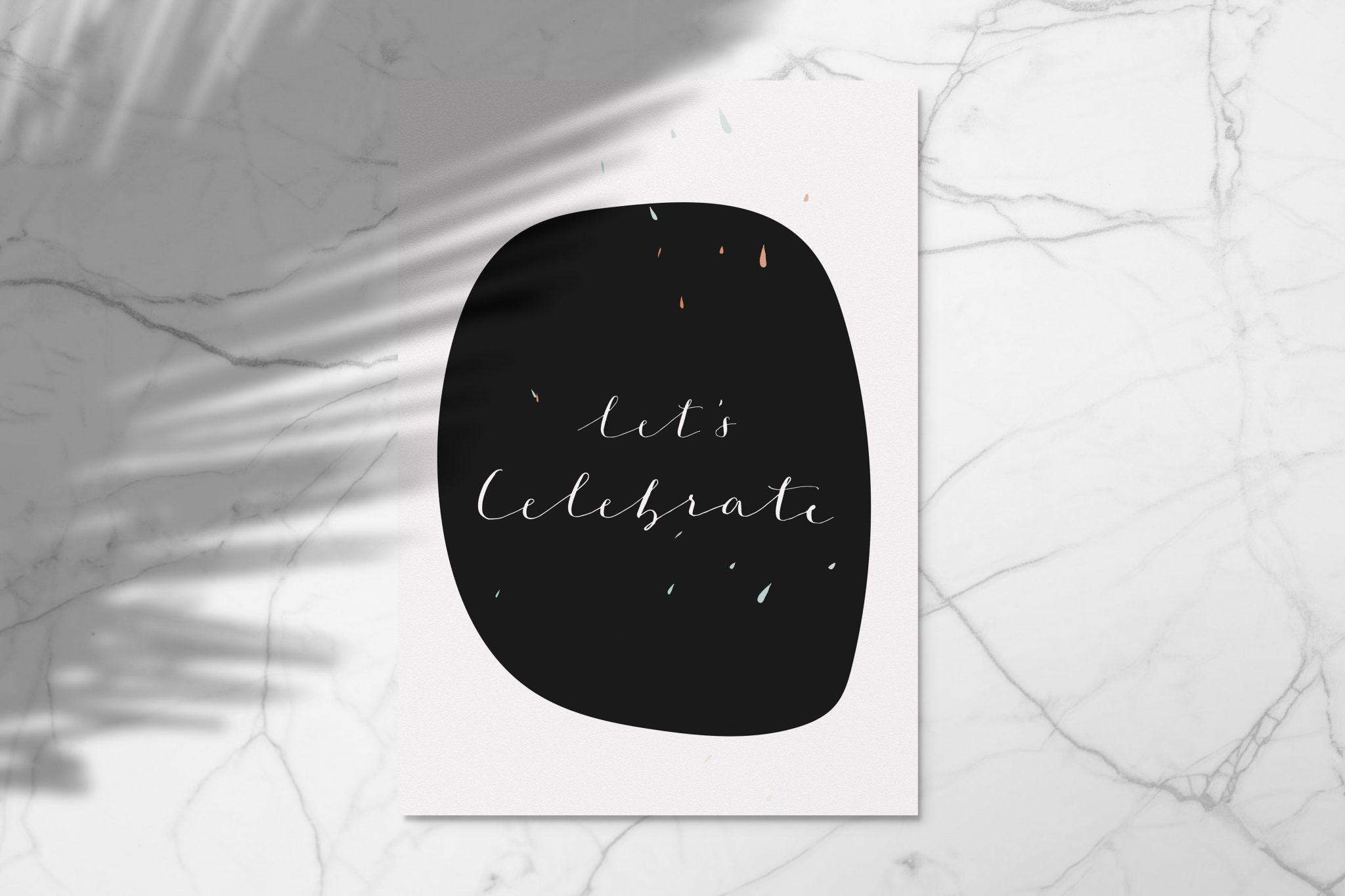 Grußkarte Let's Celebrate black