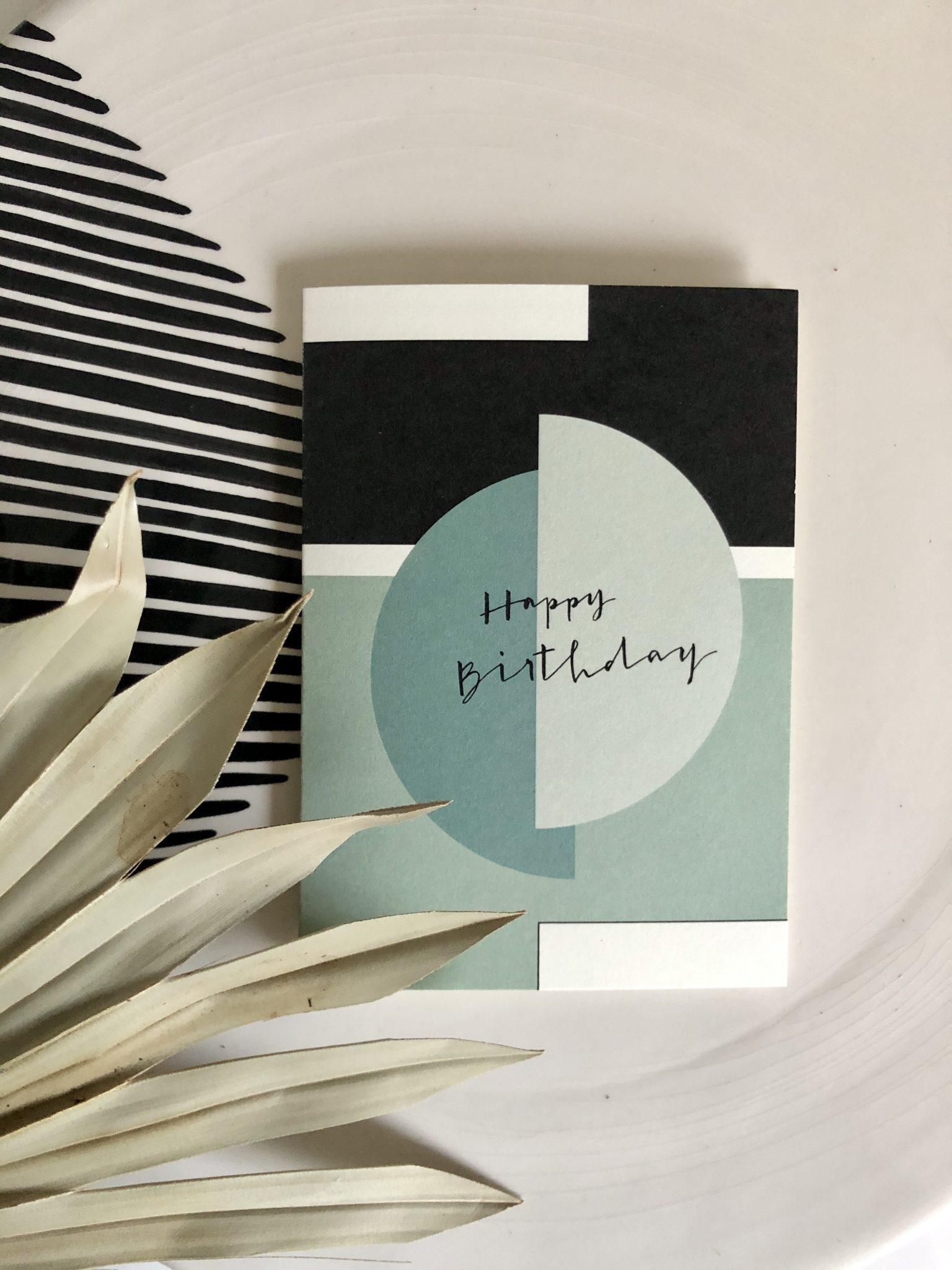 Klappkarte Happy Birthday aqua blue